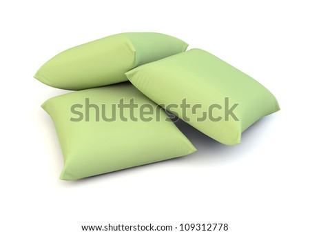 render of three green pillows