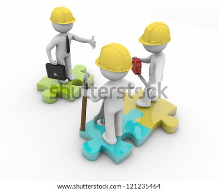 render of three workers, one with thumb up and inspector look