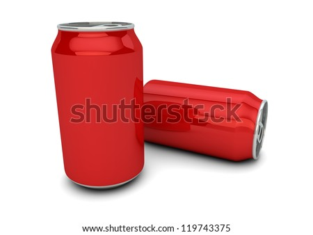 render of two empty red cans
