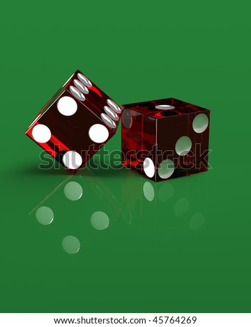 Render of two right handed red transparent casino dice on a green, reflective surface. Layout is accurate and razor border of these acrylic dice is also casino style with reflection and refraction.