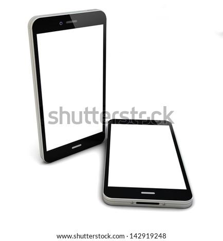 render of two smartphones with empty screen