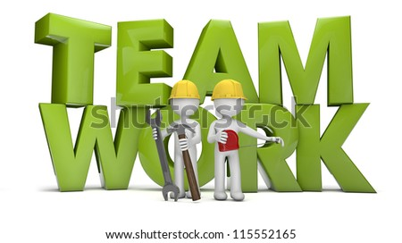 render of two workers and the text teamwork