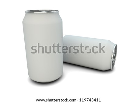 render of white empty cans