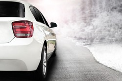 render of white sport car without a trade brand and winter trip