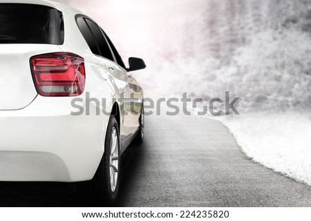 "stock photo render of white sport car without a trade brand and winter trip 224235820 - Каталог - Фотообои ""Автомобили"""