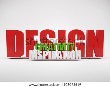 render of words design creativity inspiration over grey background - stock photo