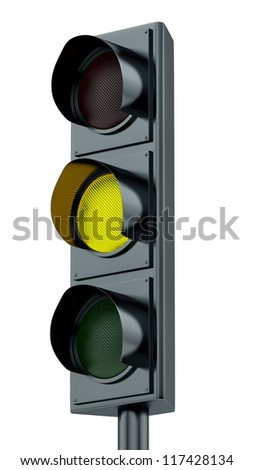 render of yellow traffic lights