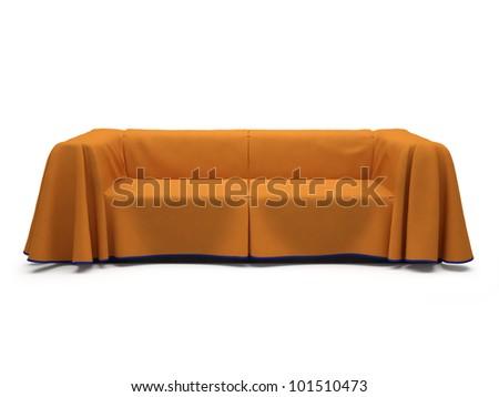Render orange sofa on white.