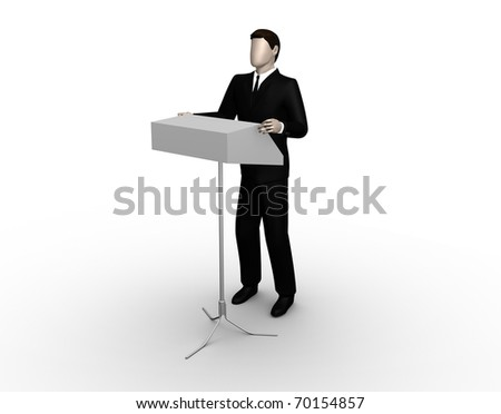 Render the businessman delivers a speech at a tribune