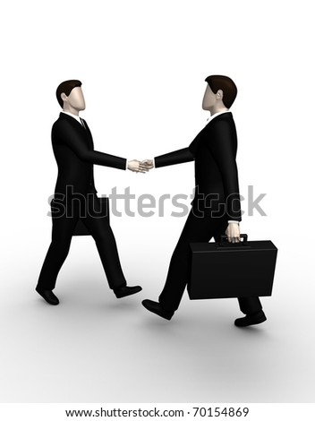 Render two business shake hands - stock photo