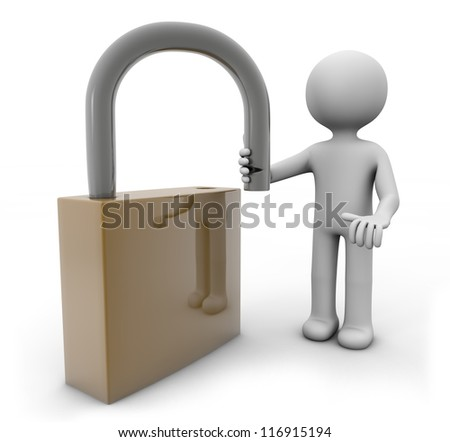 render with a man opening a padlock