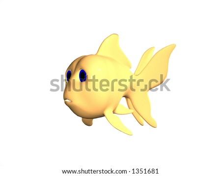 goldfish cartoon pictures. Rendered cartoon goldfish