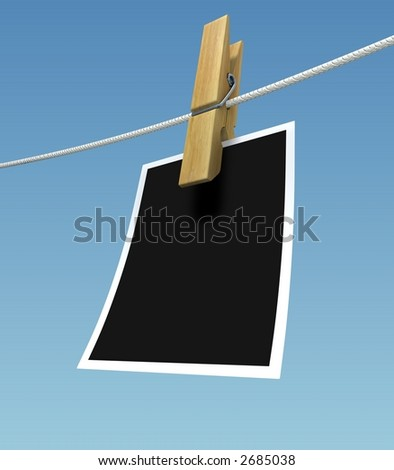 Rendered clothes pin with place for an image with white frame or text