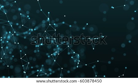 rendered computer generated background. Triangles, dots and lines are connecting with shine on blur background.