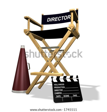 Rendered director's chair over white background