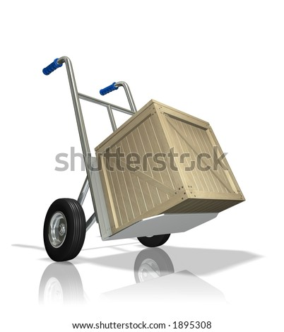 Rendered hand truck with a wooden crate