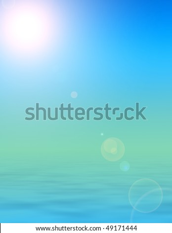 rendered illustration of bright sunshine, clear skies and calm peaceful ocean background
