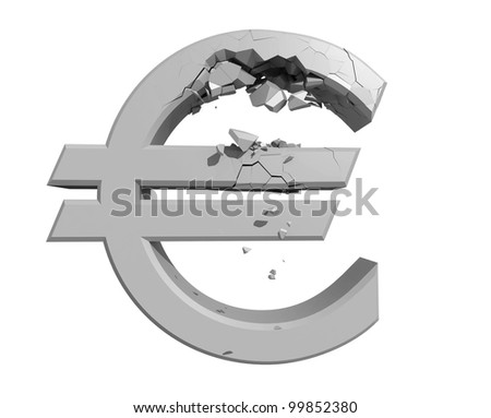 Rendered image of a crumbling Euro symbol isolated on a white backgroun