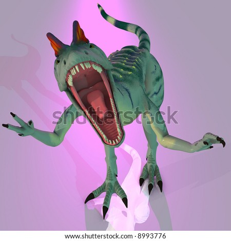 Rendered Image of a Dilophosaurus (Dinosaur) - with Clipping Path