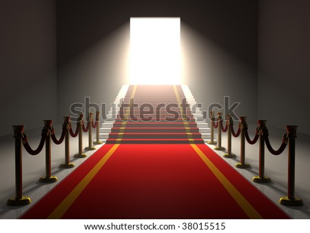 rendered image of an entrance with a red carpet and gold poles with stairs and a shining door - stock photo
