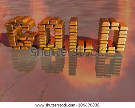 Rendered image of gold bars arranged to spell Gold reflected on the ground