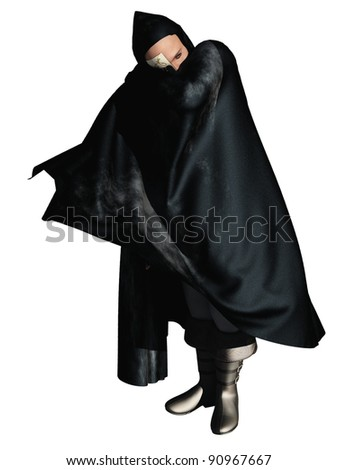 rendered image of half masked man in hooded cloak the