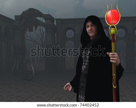 Rendered image of wizard in abandoned courtyard with snakes and backdrop of dead trees