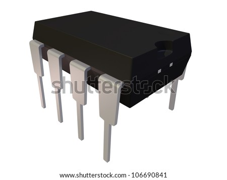 Rendered Isolated Dual In Line Package DIP8 Electronic Component