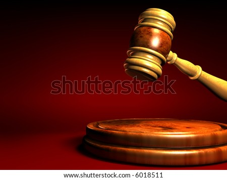 Rendered judges gavel and sounding block