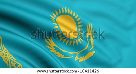 Rendered kazakhstani flag