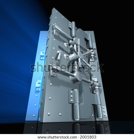 Rendered open vault door with blue light inside (wide angle) - stock photo