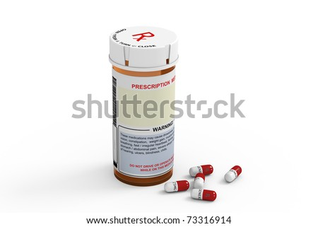 Rendered prescription medicine bottle with several generic capsules on white background.
