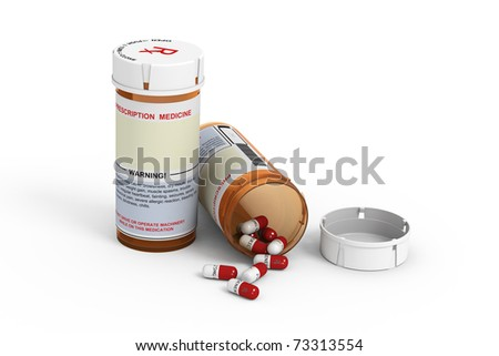 Rendered prescription medicine bottles. One closed and one open with pills spilling out on white background.