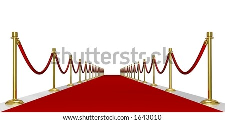 Rendered red carpet entrance with the stanchions and the ropes