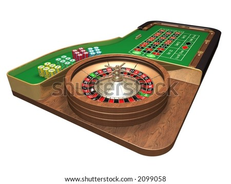 Rendered roulette table over white background