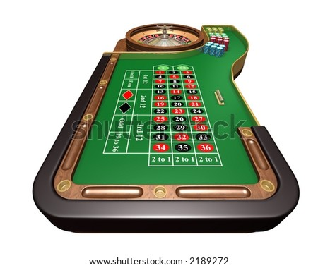 Rendered roulette table over white background (player view) - stock photo