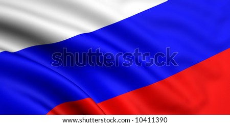 Rendered russian flag - stock photo