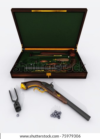 Rendered set of antique duelling pistols with case and accessories including ammunition and bullet mould.