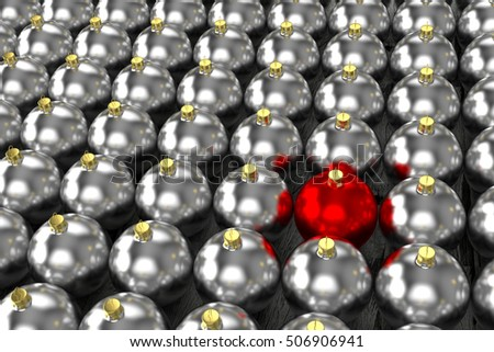 rendered silver and one red christmas baubles on the old dried planks, 3d rendering #506906941