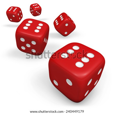 Rendering 3d of five rolling red dice showing number six illustration isolated on white background. #240449179