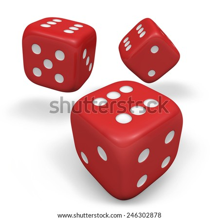 Rendering 3d of three rolling red dice showing number six illustration isolated on white background. #246302878