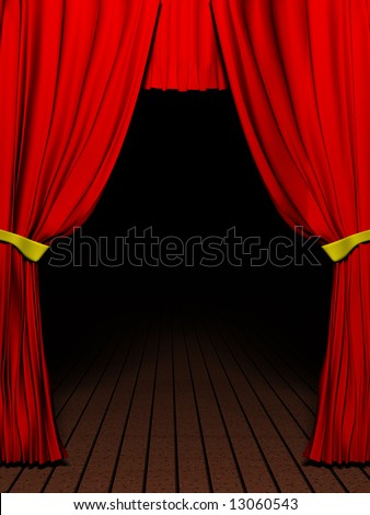 Rendering 3D red velvet theater curtains and Wood floor