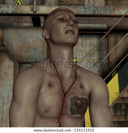 rendering man with scars and implant