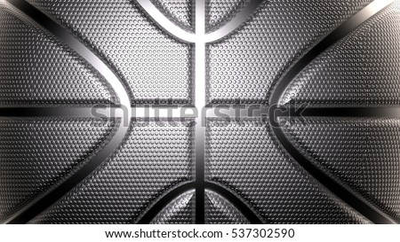 Rendering Metallic Basketball Design Background. Aluminum Material.  Metallic Silver Color. Dots Surface. 3D illustration. 3D CG. High resolution.