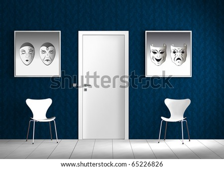 Rendering of a blue and white interior scene with two pictures. The images can easily be exchanged.