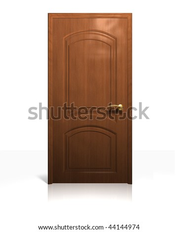 Rendering of a cherry wood door on white.