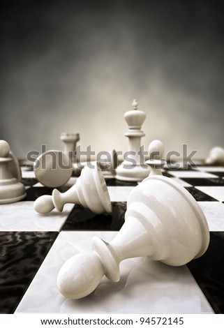 Rendering of a closeup of a chessboard