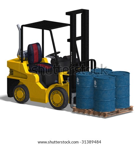 rendering of a forklift with Clipping Path and shadow over white