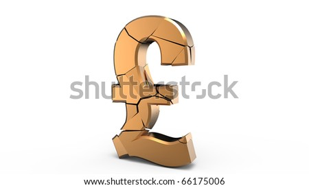 Rendering of a golden pound dollar sign
