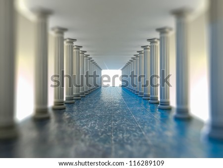 Rendering of a hall with column